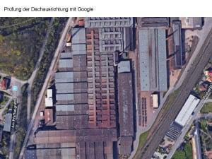 Prüfung der Dachausrichtung mit Google